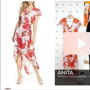 Julia Jordan high low Chiffon dress Red White NWT